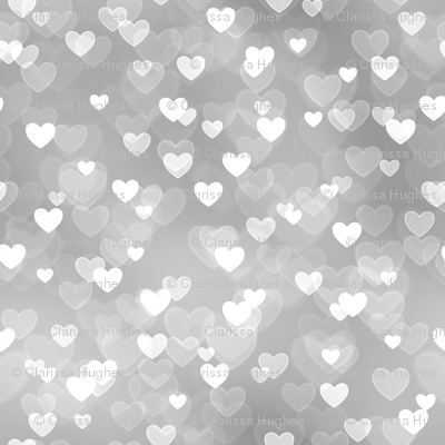 Gold And Silver Theme Heart Bokeh Pattern 8 Fabric