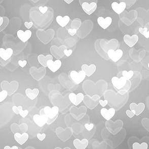 Gold and Silver Theme Heart Bokeh Pattern #8