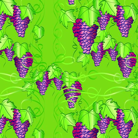 Grape Nouveau - Green Background fabric by shelleythomson on Spoonflower - custom fabric