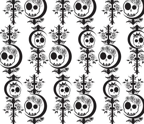 Haunted Skulls - Black & White fabric by pumpkinbones on Spoonflower - custom fabric