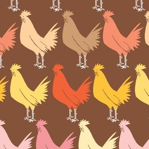 rooster on brown
