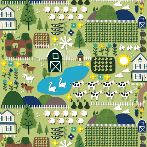 Farm for fairygoatmother fabric by laurawrightstudio on Spoonflower - custom fabric
