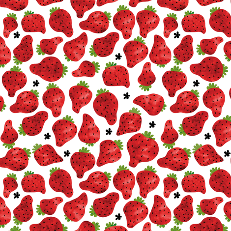 Summer Strawberries  fabric by laurawrightstudio on Spoonflower - custom fabric