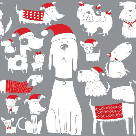 dogs - christmas - grey fabric by laurawrightstudio on Spoonflower - custom fabric