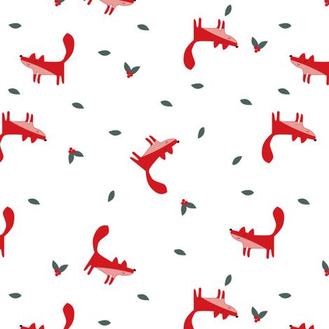 fox christmas fabric by laurawrightstudio on Spoonflower - custom fabric