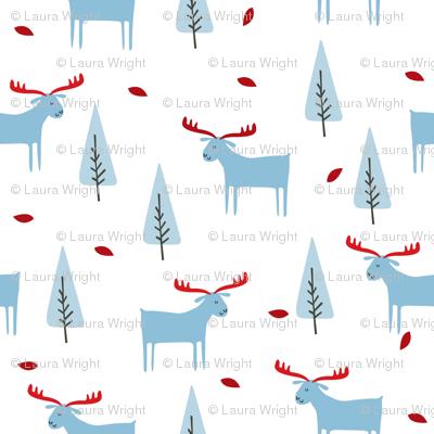 christmas moose - blue