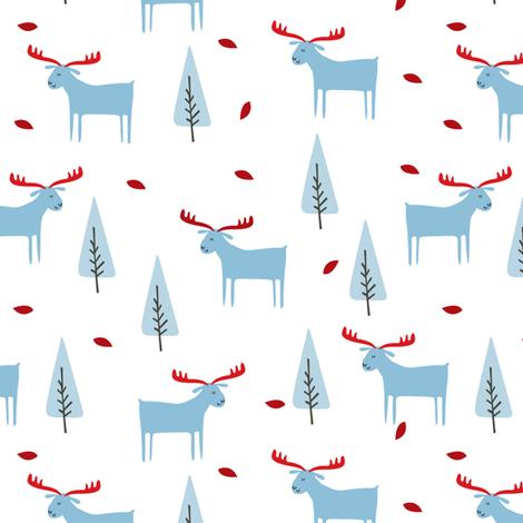 christmas moose - blue fabric by laurawrightstudio on Spoonflower - custom fabric