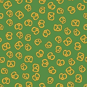 Pretzels on green