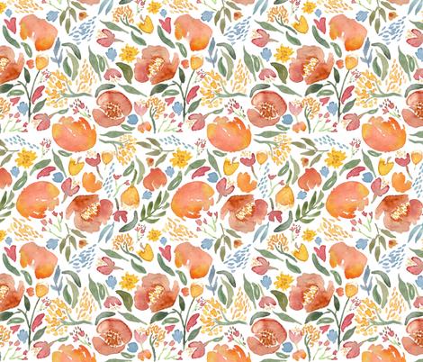 Watercolor floral bouquet Nursery fabric by laurawrightstudio on Spoonflower - custom fabric
