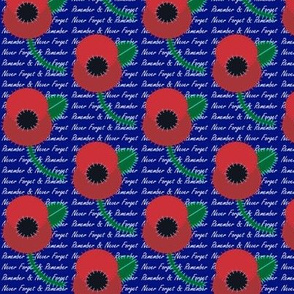 Red poppy on blue with words