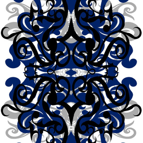 StacyCK Studio - Blue & Grey Scrollwork - Shirt Panel