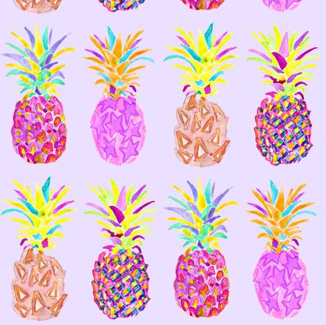 pineapple in lavender fabric by erinanne on Spoonflower - custom fabric