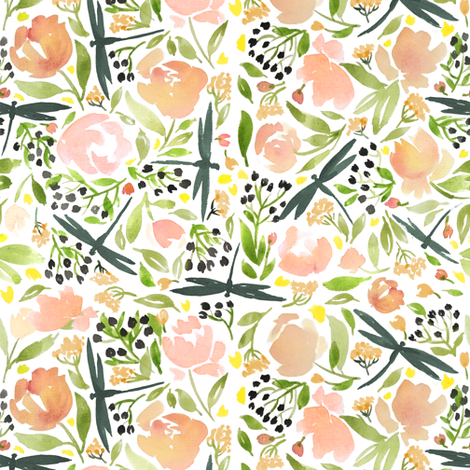 dragonfly floral roses smaller fabric by laurawrightstudio on Spoonflower - custom fabric