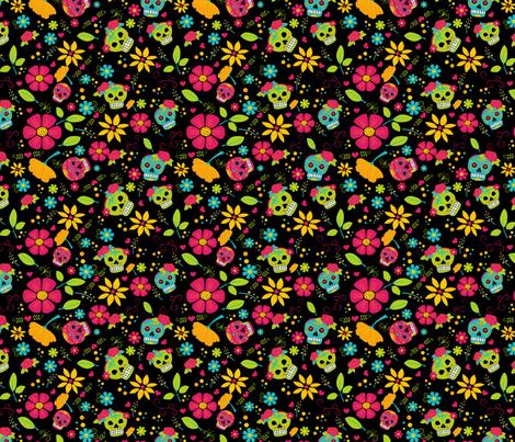 Dia-De-Los-Muertos-Color_BLACK fabric by claudia_ramos_designs on Spoonflower - custom