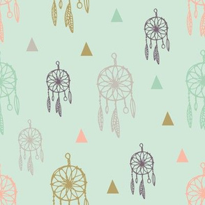 dreamcatcher gold mint Southwest Boho Nursery