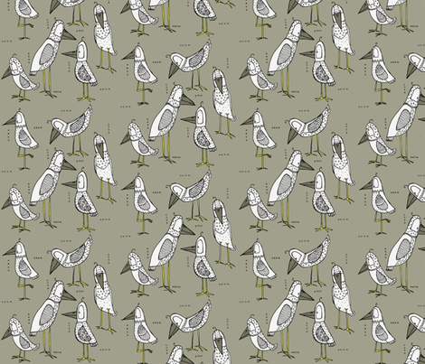 Some kind of sea bird fabric - mulberry_tree - Spoonflower