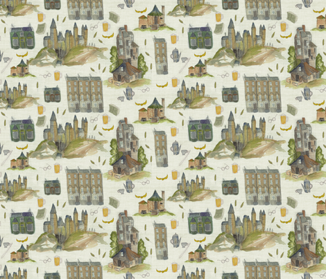 Mythical buildings from Harry's world fabric by laurawrightstudio on Spoonflower - custom fabric