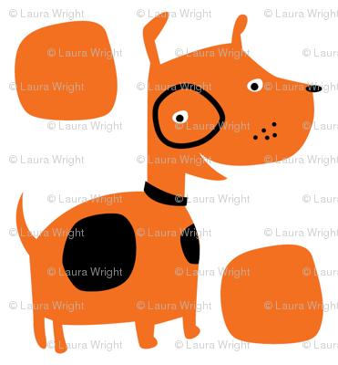 Retro dog in orange