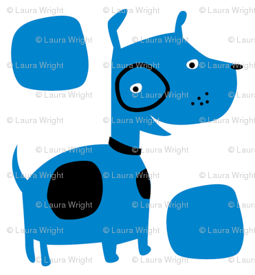 Retro dog in blue