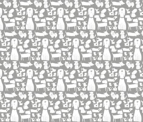 dogs grey fabric by laurawrightstudio on Spoonflower - custom fabric