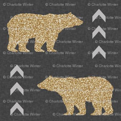 glitter bear charcoal linen