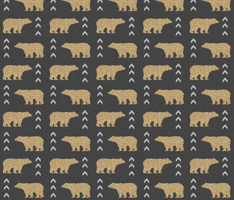 glitter bear charcoal linen fabric by charlottewinter on Spoonflower - custom fabric