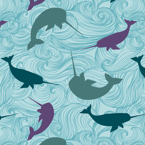 Narwhal  Blue Purple fabric by jennifer_todd on Spoonflower - custom fabric