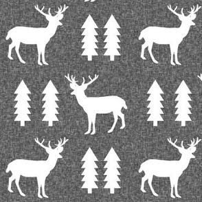 deer charcoal linen