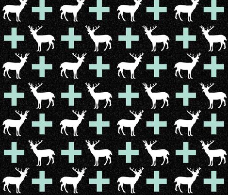 deer plus mint black  fabric by charlottewinter on Spoonflower - custom fabric