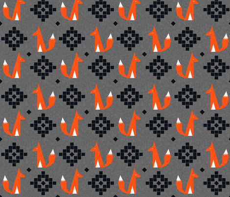 arizona fox scarlet charcoal linen fabric by charlottewinter on Spoonflower - custom fabric