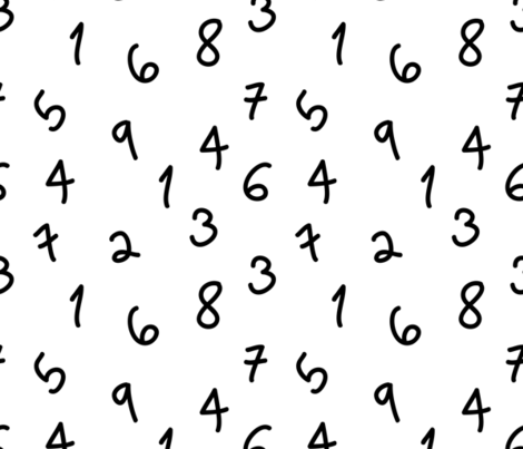numbers black and white minimal monochrome  fabric by charlottewinter on Spoonflower - custom fabric
