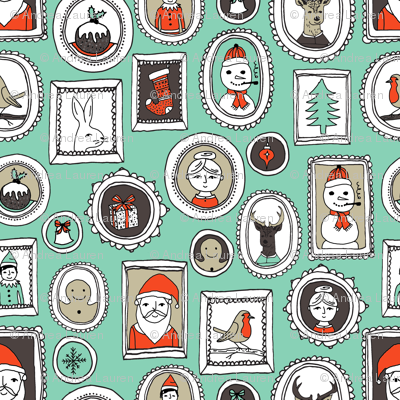 christmas portraits // green and red christmas fabric cute