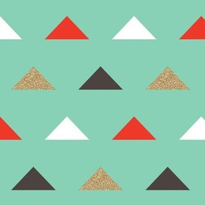 Christmas Triangles - Gold Glitter and Mint by Andrea Lauren