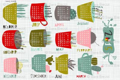 2015 cacti and succulents tea towel