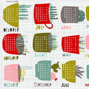 2015 cacti and succulents tea towel