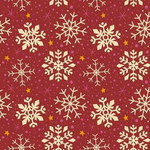 Festive Red & White Snowflakes