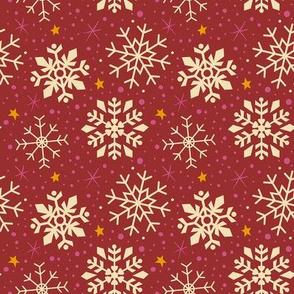Festive Red & White Snowflakes