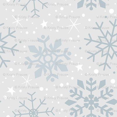 Wintery Silver Snowflakes