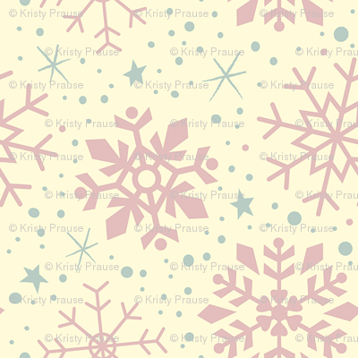 Shabby Chic Pink Christmas Snowflakes
