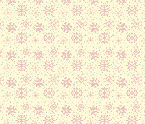 Shabby Chic Pink Christmas Snowflakes fabric by kristykate on Spoonflower - custom fabric