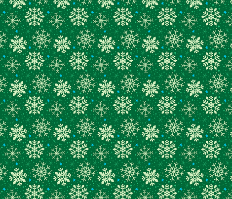 Festive Green and White Snowflakes fabric by kristykate on Spoonflower - custom fabric
