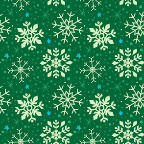 Festive Green and White Snowflakes
