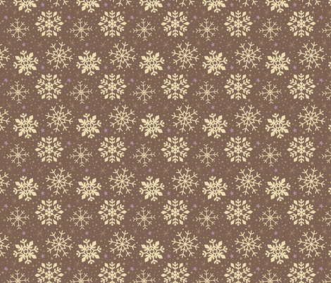White and Gingerbread Brown Snowflakes fabric by kristykate on Spoonflower - custom fabric
