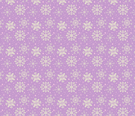 Lilac, Pink & White Snowflakes fabric by kristykate on Spoonflower - custom fabric