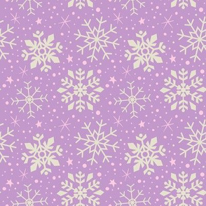 Lilac, Pink & White Snowflakes