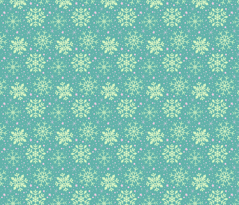 Teal & Pink Snowflakes fabric by kristykate on Spoonflower - custom fabric