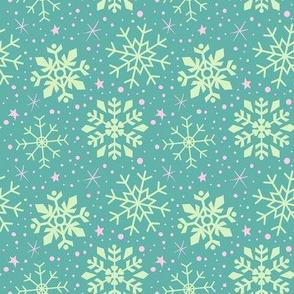 Teal & Pink Snowflakes