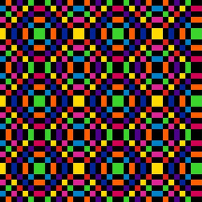 Rainbow Checkerboard in Mirror Repeat 1