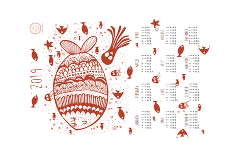 2019 tea towel calendar - fish fabric by laurawrightstudio on Spoonflower - custom fabric