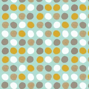 dots mod vintage mustard mint gold glitter